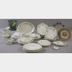 Roseville Pottery Vase, Dedham Pottery Plate, and Transfer-decorated Dinner Service