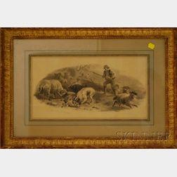 Felix Octavius Carr Darley (American, 1822-1888)      Shepherd Defending His Flock.