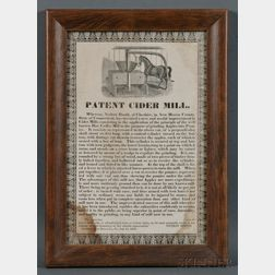 """Framed Printed """"PATENT CIDER MILL"""" Broadside"""
