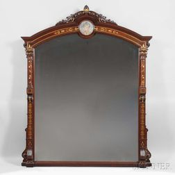 Renaissance Revival Overmantel Mirror with Pâte-sur-Pâte Plaque