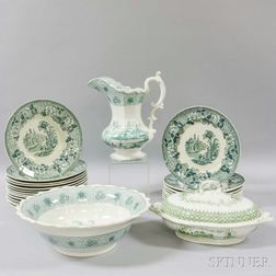 Twenty-six Green Transfer-decorated Tableware Items