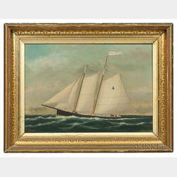 William Pierce Stubbs (1842-1909)      Portrait of the Sailing Yacht Edwin Forest