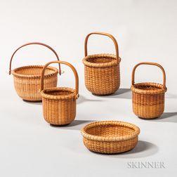 Five Miniature Nantucket Baskets
