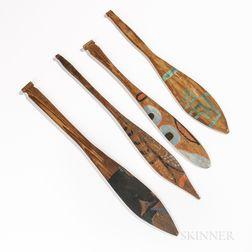 Four Miniature Northwest Coast Painted Paddles