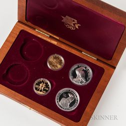 Cased 1984 Los Angeles Olympics Commemorative Four-coin Set