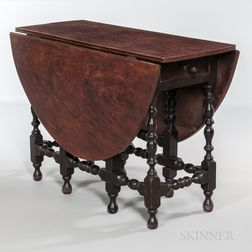 Dark Brown-painted and Paint-decorated Oval-top Gate-leg Table
