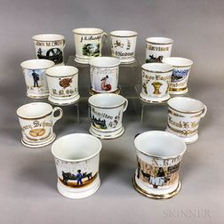 Fourteen Porcelain Shaving Mugs