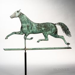 Molded Sheet Copper and Zinc Trotting Horse Weathervane