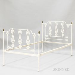 English Gothic Revival White-painted Cast Iron Bed