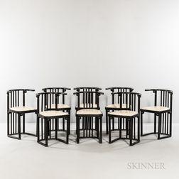 Eight Josef Hoffmann (Austrian, 1870-1956) Fledermaus Chairs by Wittmann