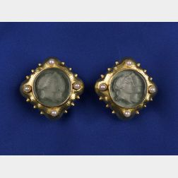 18kt Gold, Venetian Glass and Pearl Ear Clips