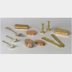 Group of Brass, Copper, and Silver Items.