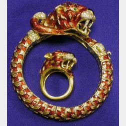 18kt Gold, Diamond, and Enamel Bracelet and Ring