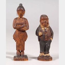 "Carved Wooden ""Jiggs & Maggie"" Cartoon Character Figures"