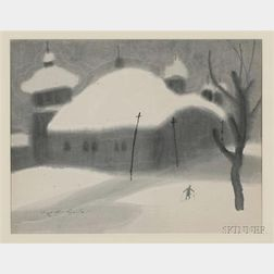 Saito Kiyoshi:  Snow-Covered Village with Figure on Skis