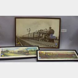 Seven Framed British Railroad Mechanical Prints