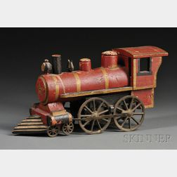 Painted Wood and Cast Iron Friction Propelled Locomotive Toy