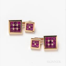 Pair of Square 18kt Gold and Ruby Cuff Links