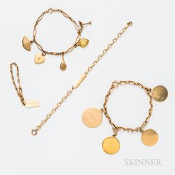 Group of 14kt Gold Charm and ID Bracelets