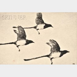Hans Kleiber (American/German, 1887-1967)      Lot of Three Bird Images:  Magpies in Flight,   Red Wings and Marsh Grass
