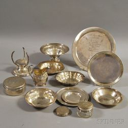 Fourteen Pieces of Mostly Sterling Silver Tableware and Accessories