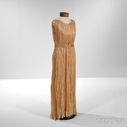 """Mariano Fortuny Silk Pleated """"Delphos"""" Gown with Murano Glass Beadwork"""