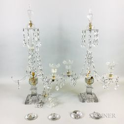 Pair of Regency Glass Girandoles