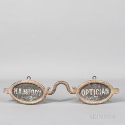 "Small Two-sided ""H.A. Moody"" Optician Trade Sign"