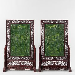 Pair of Table Screens with Carved Hardstone Plaques
