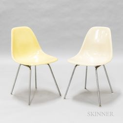 Two Eames for Herman Miller Yellow Fiberglass Side Chairs