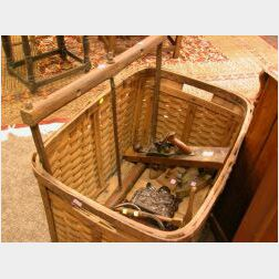 Six Wooden and Iron Trade and Domestic Tools, Woven Splint Storage Basket and an Antler Mounted Carved Wood Wall Plaque.