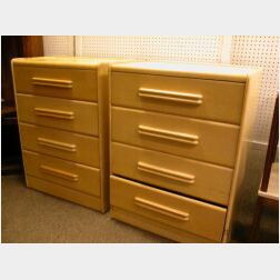 Pair of Heywood Wakefield Modern Bleached Chests of Drawers.