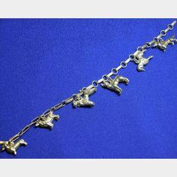 14kt Gold Dog Charm Bracelet