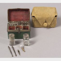 Miniature Silver and Shagreen Writing Casket
