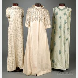 Two Vintage 1960s Beaded Silk Evening Gowns and a Lillie Rubin White Beaded Silk Evening Coat