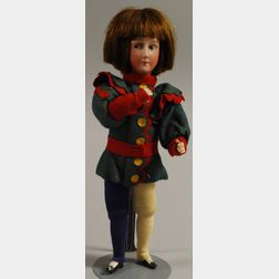 Bisque Flange Head Harlequin Boy Doll