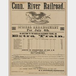 "Framed ""Conn. River Railroad"" Special July 4th 1861 Train Schedule Broadside"