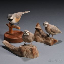 Three Carved and Painted Ornamental Bird Figures