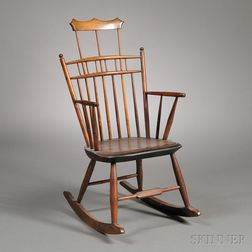 Comb-back Maple and Ash Windsor Armed Rocking Chair