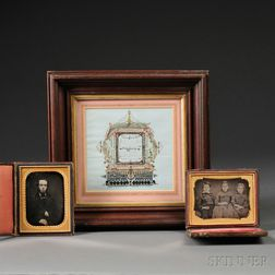 Framed Calligraphic Valentine and Two Quarter-plate Daguerreotype Portraits