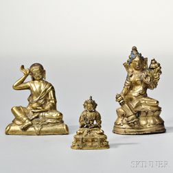Three Gilt-bronze Buddhist Figures