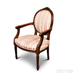 Louis XVI Carved Fruitwood Fauteuil