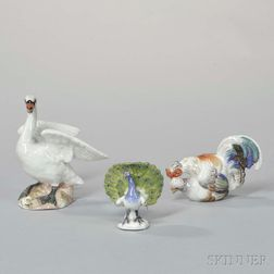 Three Meissen-style Polychrome Porcelain Bird Figures