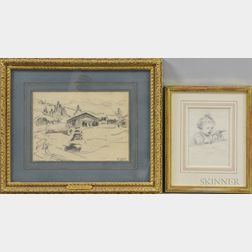 Two Framed Drawings:      Francis Luis Mora (American, 1874-1940), Toddler Feeding Herself