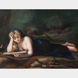 German Porcelain Plaque Depicting Magdalene Reading