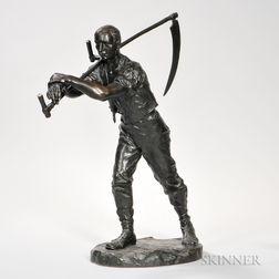 Ferdinand Lugerth (Austrian, 1885-1915)    Bronze Figure with a Scythe