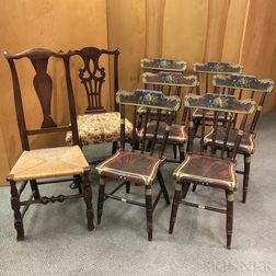 Set of Six Paint-decorated Side Chairs