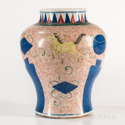 "Wucai Jar with Galloping ""Heavenly Horses,"""