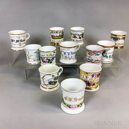 Twelve Mostly Floral-decorated Porcelain Shaving Mugs