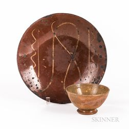 Slip-decorated Redware Plate and Tea Bowl